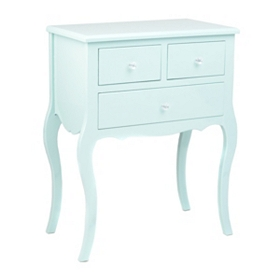 Powder Blue Lacquered Bombe 3-Drawer Chest