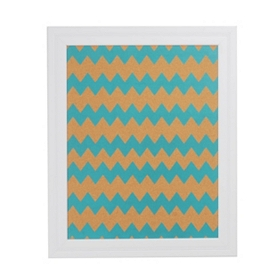 Blue Chevron Print Cork Board