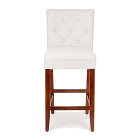 Gray Linen Tufted Bar Stool