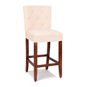 Tan Linen Tufted Bar Stool