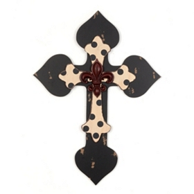Distressed Black Polka Dot Cross Wall Plaque