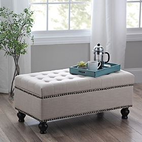 Ivory Tufted Storage Bench