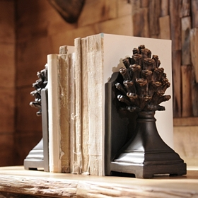Pine Cone Pedestal Bookend, Set of 2