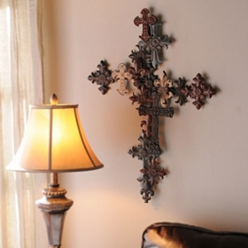Metal Layered Cross Wall Plaque