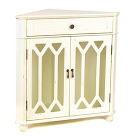 Ivory Cathedral Door Corner Cabinet