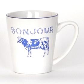 Bonjour Blue Cow Beverage Mug