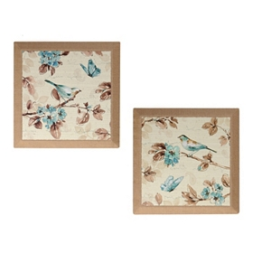 Blue Birds & Butterflies Burlap Canvas Art Print