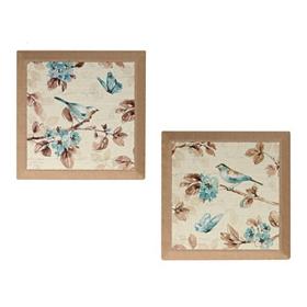 Blue Birds & Butterflies Burlap Canvas Art Print