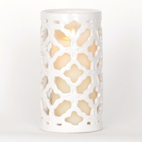 White Clover Ceramic Hurricane, 9 in.