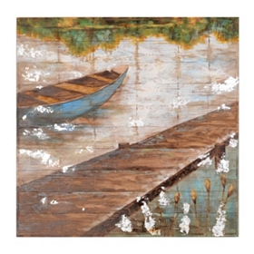 Boat By The Lake Wood Art Print