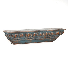 Distressed Turquoise Metal Shelf
