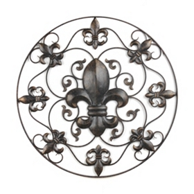 Rustic Brown Fleur-de-lis Wall Plaque