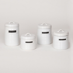 White Chalkboard Canisters, Set of 4