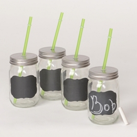 Chalk It Up Sipper with Straw, Set of 4