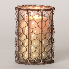 Chicken Wire & Glass Hurricane, 5.25 in.