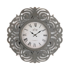 Gray Art Deco Wall Clock