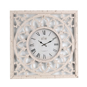Distressed White Cutout Clock