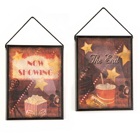A Night at the Movies Two-Sided Wall Plaque