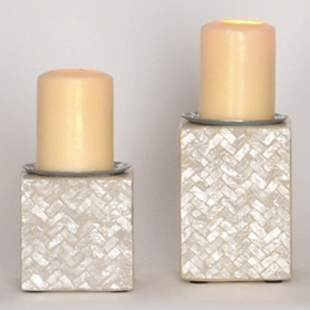 White Capiz Tile Pillar Candle Holder, Set of 2