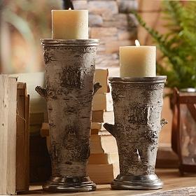 Birch Pillar Candle Holder, Set of 2
