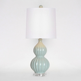 Light Blue Fluted Ceramic Table Lamp