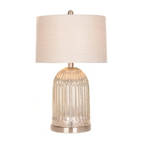 Silver Fluted Mercury Glass Table Lamp