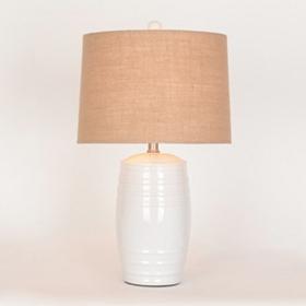 White Ceramic Barrel Table Lamp