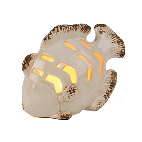 Cream Ceramic Fish Night Light