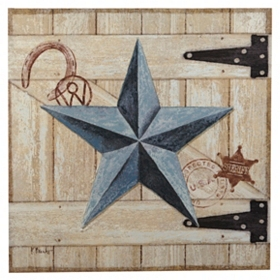 Turquoise Barn Star Canvas Art Print