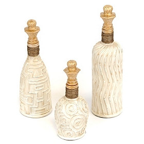 Pearl & Gold Bottles, Set of 3