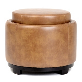 Cameron Brown Bonded Leather Storage Ottoman