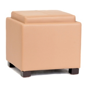 Venzia Tan Bonded Leather Storage Ottoman