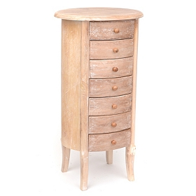 Modena 7-Drawer Natural Wood Accent Table