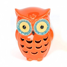 Red Cutout Ceramic Owl Statue