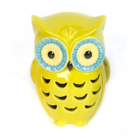 Green Cutout Ceramic Owl Statue