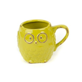 Green Ceramic Owl Mug