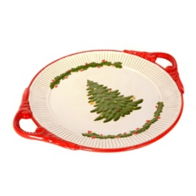 Oval Christmas Tree Platter with Handles
