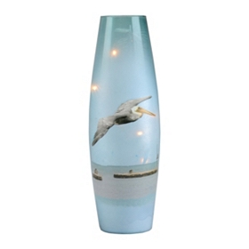 Pre-Lit Blue Glass Pelican II Hurricane