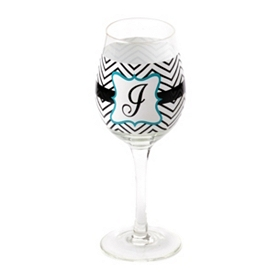 Chevron Blue Monogram J Wine Glass