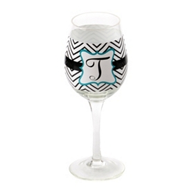 Chevron Blue Monogram T Wine Glass