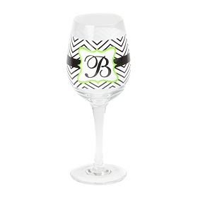 Chevron Green Monogram B Wine Glass