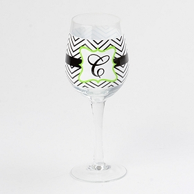 Chevron Green Monogram C Wine Glass