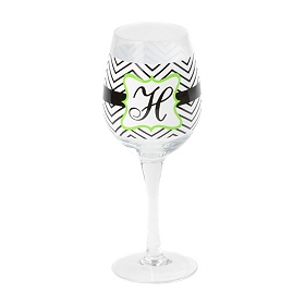 Chevron Green Monogram H Wine Glass