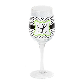Chevron Green Monogram L Wine Glass