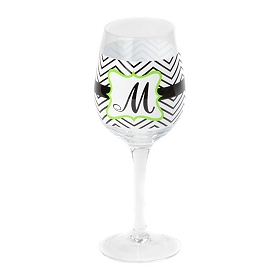 Chevron Green Monogram M Wine Glass