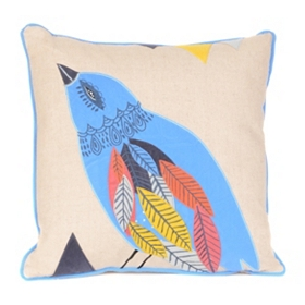 Appliqued Fuzzy Bird Pillow