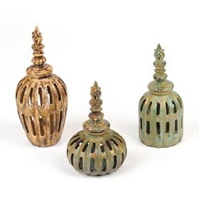 Pierced Color Jars, Set of 3
