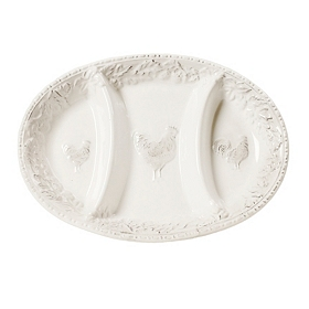 Antique White Embossed Rooster Divided Platter
