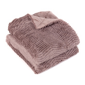 Mauve Faux Fur Chevron Throw Blanket