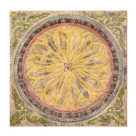 Distressed Floral Medallion Tile
